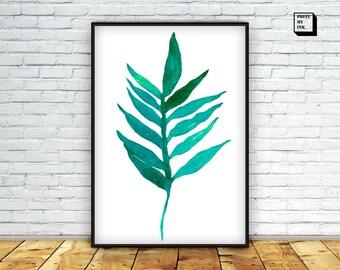 Tropical leaf print, tropical print, tropical palm leaf print, watercolor print, botanical print, botanical art, leaf art, leaf printable