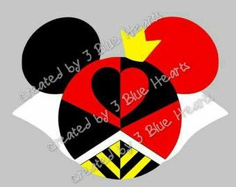Queen of Hearts Mickey Head SVG Studio, Alice in Wonderland Mickey Head SVG Studio, Disney SVG Studio Alice in Wonderland, Queen of Hearts