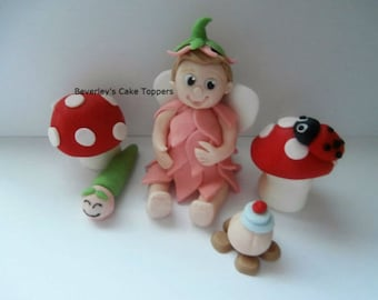 Edible sugar paste Little fairy and toadstools cake topper,boy,girl,cake decoration