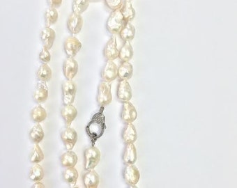 Sterling Silver 36 inch Freshwater White Baroque Pearl Necklace (15-17 mm) with Diamond Clasp
