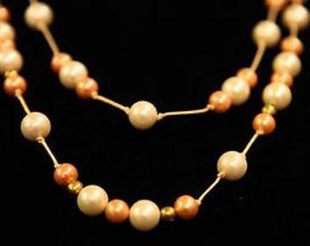 Lucite Pearl Necklace Peach Tones