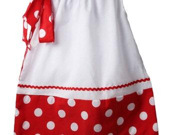 White with Red & White Polka Dots Pillowcase Dress - DIY Blanks