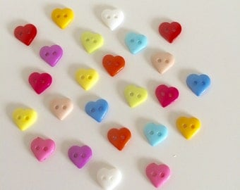 50 Heart Buttons ~ Small Heart Buttons ~ Plastic Buttons ~ Heart Embellishments ~ Card Making ~ Scrapbooking ~ Sewing