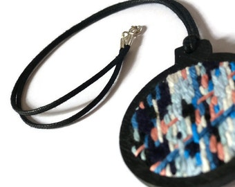 embroidered Pendant Necklace blue tweed modern, necklace fiber art necklace miniature embroidery, tapestry, fancy, nayquach jewellery jewelry