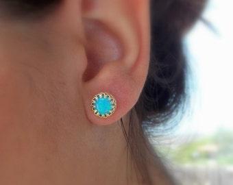 Opal stud earrings - gold opal earrings - opal earrings - classic earrings - stud earrings - crown setting - October birthstone
