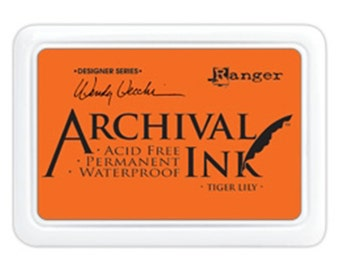 Ranger Archival Ink Tiger Lily - Orange Ink - Orange Archive Ink - Ranger Orange Ink - Permanent Orange Ink - Waterproof Ink