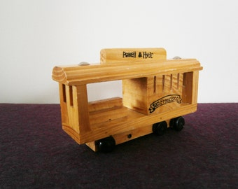 Cable Car Trolley Wood Vintage Souvenir Roll Toy San Francisco California mothers day fathers