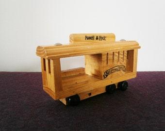 Cable Car Trolley Wood Vintage Souvenir Roll Toy San Francisco
