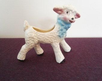 Lamb Planter Sheep Blue Bow Ceramic Figurine Vintage Dollar Days SALE