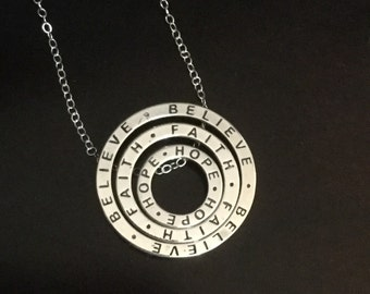 Believe, Faith and Hope Circle Slide Pendant Necklace