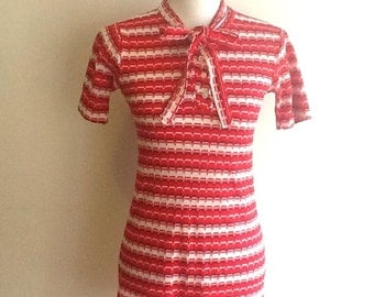 Vintage 1960s red striped mod mini scooter dress XS