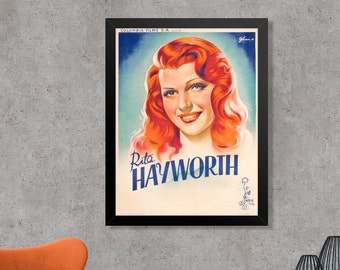 Rita Hayworth Vintage French Promotional Movie Poster Print