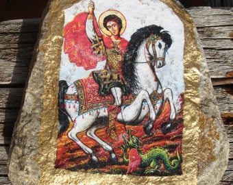 Icons of St George, Icons of Stone, St George,  Handmade Stone , Handmade Stone Icons, Icons, Dragon,St George's day