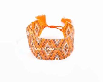 Bracelet cuff orange Japanese beads