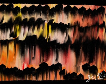 abstract painting, finger painting, oil, crayon, northwest art, northwest painting, black