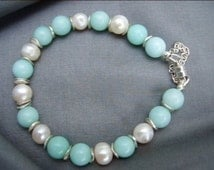 Amazonite, freshwater pearl and sterling silver discs bracelet