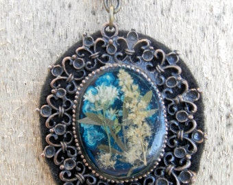 Unique pendant, handmade pendant within the field of flowers