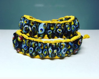Wrap bracelet blue and yellow