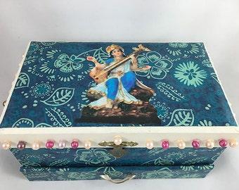 Saraswati Jewelry Box Shrine, Altar, One of a Kind, OOAK