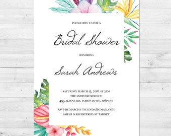 Bridal Shower Invitation, Bridal Shower Invite, Tropical Bridal Shower Invitation, Tropical Invitation