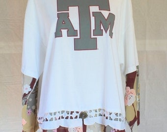 Womens XL-XXL tees and tops, Ladies 1XL tops, Texas AM game day shirt, TAMu upcycled T, Reconstructed Tshirt, shabby chic game day T,