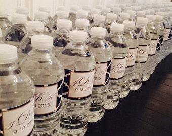 Custom Water Bottle Labels, Water bottle Stickers, Wedding Water bottle stickers, Personalized Labels, Self stick Stickers,