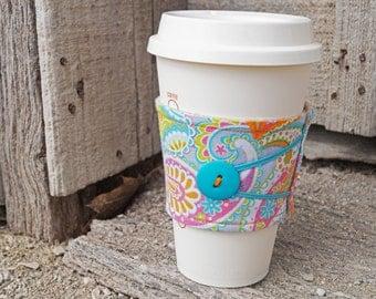 Reusable Coffee Cup Cozy * BrightPaisley