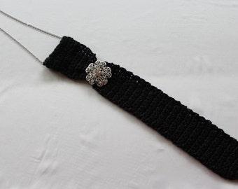 Crochet Black Ladies Neck Tie
