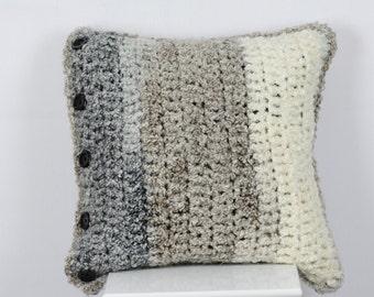 Crochet Pillow Cover Granite Stripes
