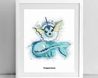 Vaporeon, Pokemon line drawing, 8x10 inch, by janovelty