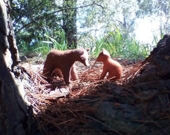 Wool felt brown bear and cub or single.