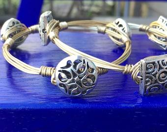Silver beaded wire bracelet