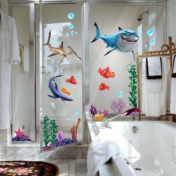 3d wall decal 3d finding nemo finding nemo shark by lovelyhalo - Finding nemo bathroom sets ...