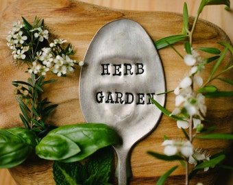 """Upcycled vintage silver plated spoon garden marker - EPNS """"Herb Garden"""""""