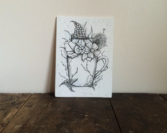 Cup of Beauty- Ink Art, Ink Drawing, Canvas Art, Pen and Ink Drawing, Original Drawing
