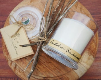 Australian Sandalwood Scented Premium Natural Soy Wax Container Candle In Medium Apothecary Glass Jar With Lid