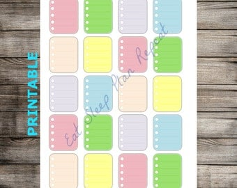 PRINTABLE for Erin Condren -  Full Box Multicolor Checklists Planner Stickers for EC Life Planner Vertical Layout. Check list