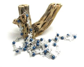 Handmade Round Glass Pearl Bead/Cross Chains Dark Blue (B90c1)