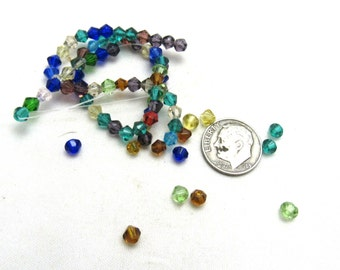 1 Strand Faceted Glass Bicone Beads 4mm Assorted Colors (B96j8)