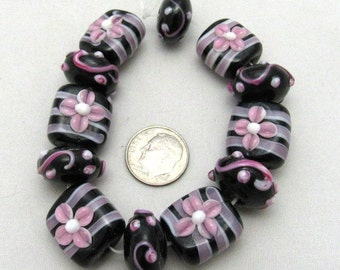 1 Strand Handmade Square & Rondelle Lampwork Beads in Black/Pink/White (B35a17)