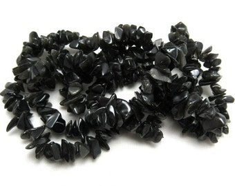 "1 Strand Natural Obsidian Chip Beads 35"" (B19i)"