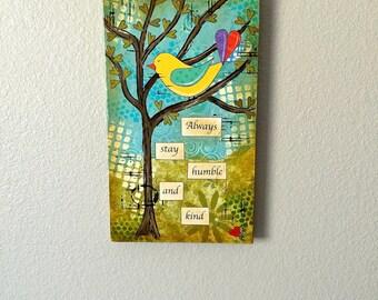 Mixed media bird, painting on wood, bird collage, bird folk art, home decor, mixed media collage, bird collage wall art, bird in tree art