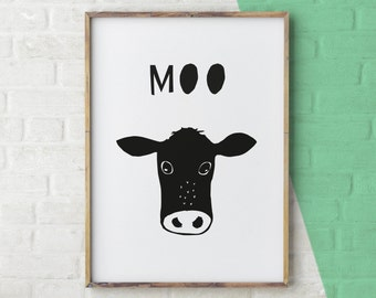 Black and White Print, Cow Print, Black and White Cow Art, Cow Art Black and White, Black and White Nursery Print, Monochrome nursery Decor