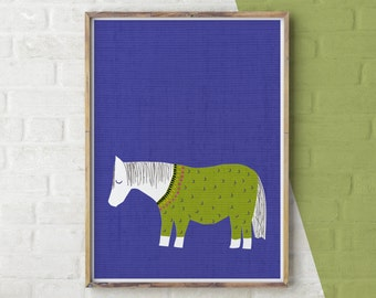 Shetland Pony Print, Horse Print, Animals in Clothes, Cute Pony, Baby Animals Wall Art, Horse Wall Art, Pony, Instant Download, Large Poster