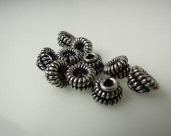 Bead Caps Bali Style Rhodium Plated Brass #9700