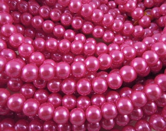 CP-Deep Pink Glass pearls by Lady Pruchez tm #13
