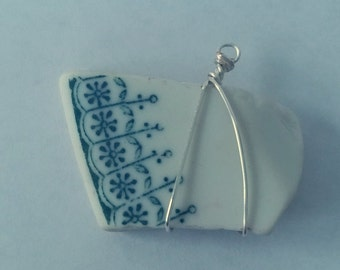 Authentic Blue and White Sea Pottery Pendant