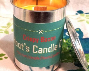 Soy Candle, Crispy Bacon Scent Soy Candle 4oz, Wood Wick Soy Candle, Tin Can Candle