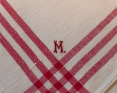 """12 French Napkins, Monogrammed Vintage Linen/Hemp, Substantial Nubby Weave with Bold Red Stripes, Monogrammed """"M"""", 25.5"""" X 26.25"""" set of 12"""