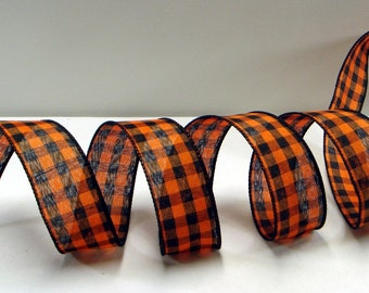 1.5 inch Wired Halloween Ribbon ~  Orange and Black Check Ribbon ~Wired Halloween Plaid Ribbon ~ Halloween Craft Ribbon ~ 5 Yards